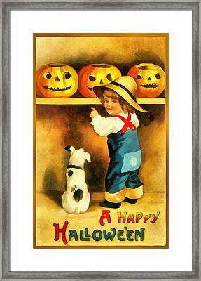 A Happy Halloween Puppy Framed Print by Unknown
