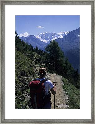 A Hiker Enjoys The View Of The Glacier Framed Print by Taylor S. Kennedy