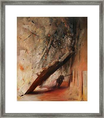 A House Collapsing On Two Firemen Framed Print by Mountain Dreams