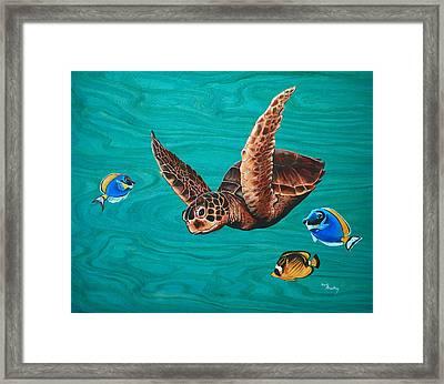 A Hui Hou - Sea Turtle Framed Print by Emily Brantley