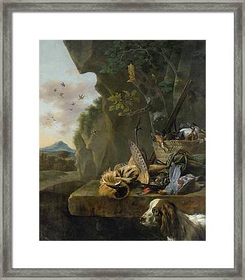 A Hunting Still Life With A Bittern And A Dog In A Landscape Framed Print by Jan Weenix