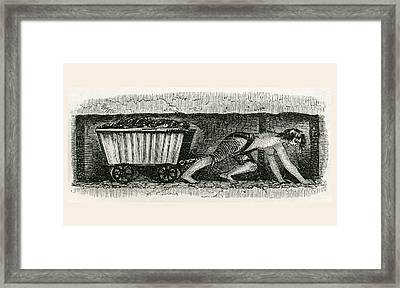 A Hurrier In A Halifax Coal Pit. A Framed Print by Vintage Design Pics