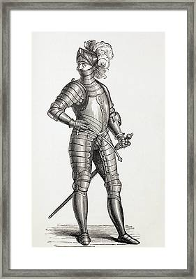 A Knight In Complete Armour In The 15th Framed Print by Vintage Design Pics