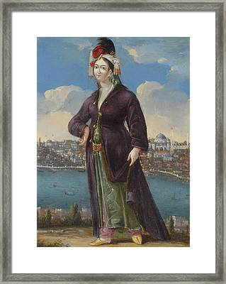 A Lady In Greek Dress Before Framed Print by Georges