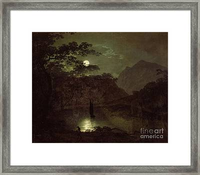 A Lake By Moonlight Framed Print by Joseph Wright of Derby