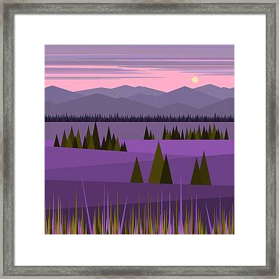 A Lake In The Mountains -  Pink Sky Framed Print by Val Arie