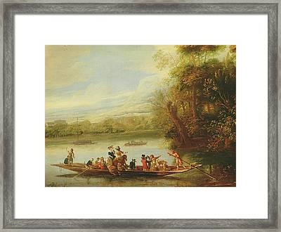 A Landscape With A Crowded Ferry Crossing The Water In The Foreground  Framed Print by Willem Schellinks