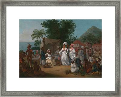 A Linen Market With A Linen-stall Framed Print by MotionAge Designs