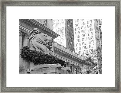 A Lion In The City Framed Print by Victory Designs