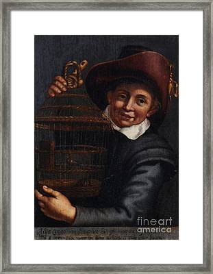 A Little Boy With Canaries In A Cage Framed Print by MotionAge Designs