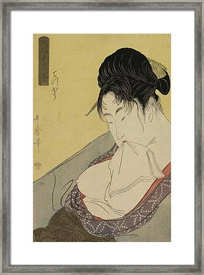A Low Class Prostitute Framed Print by Kitagawa Utamaro