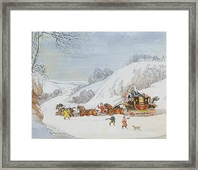 A Mail In Deep Snow Framed Print by James Pollard