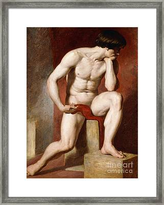 A Male Nude, Seated Full Length Framed Print by William Etty
