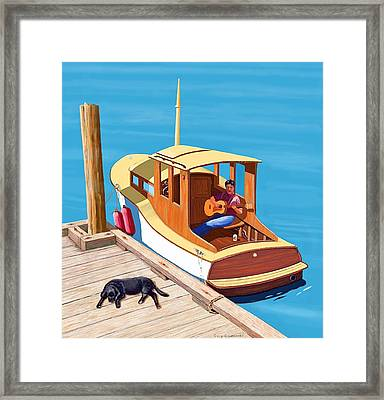 A Man A Dog And An Old Boat Framed Print by Gary Giacomelli