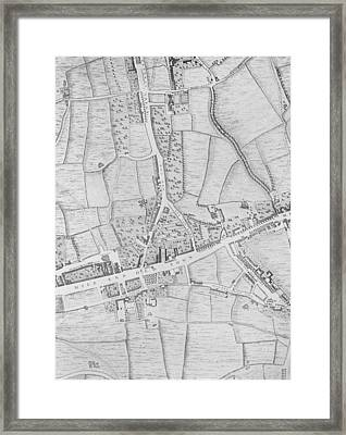 A Map Of Mile End Framed Print by John Rocque