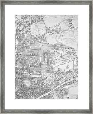 A Map Of Shoreditch And Whitechapel Framed Print by John Rocque