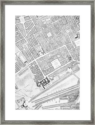 A Map Of St James  London Framed Print by John Rocque