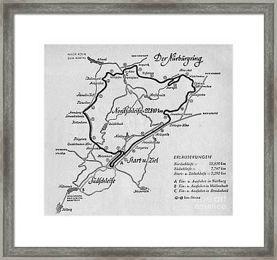 A Map Of The Nurburgring Circuit Framed Print by German School