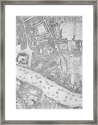 A Map Of The Tower Of London Framed Print by John Rocque