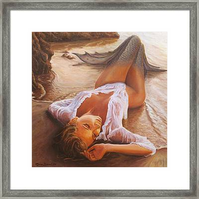A Mermaid In The Sunset - Love Is Seduction Framed Print by Marco Busoni