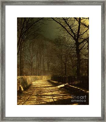 A Moonlit Lane Framed Print by John Atkinson Grimshaw