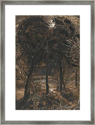 A Moonlit Scene With A Winding River Framed Print by Samuel Palmer