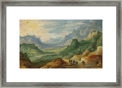 A Mountainous Landscape With Travellers And Herdsmen On A Path Framed Print by Jan Brueghel and Joos de Momper