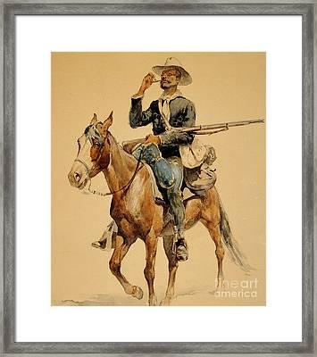 A Mounted Infantryman Framed Print by Frederic Remington