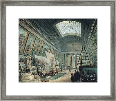 A Museum Gallery With Ancient Roman Art, Before 1800 Framed Print by Hubert Robert