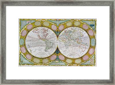A New And Correct Map Of The World Framed Print by Robert Wilkinson