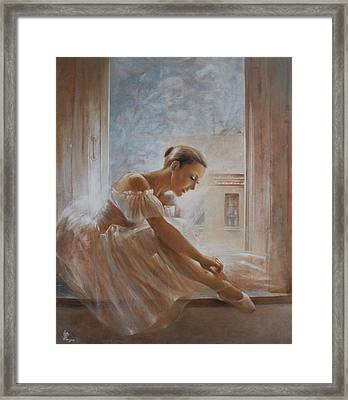 A New Day Ballerina Dance Framed Print by Vali Irina Ciobanu