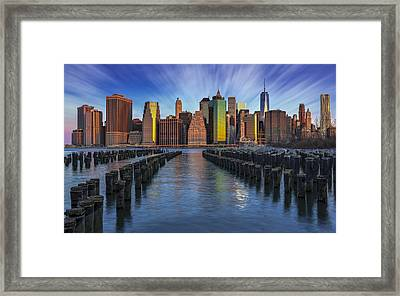 A New York City Day Begins Framed Print by Susan Candelario