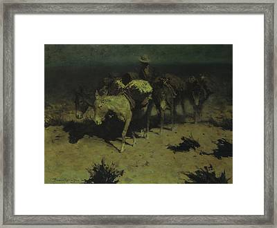 A Pack Train Framed Print by Frederic Remington