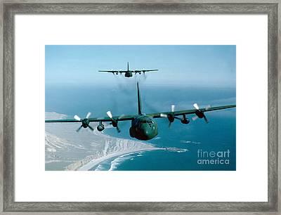 A Pair Of C-130 Hercules In Flight Framed Print by Stocktrek Images