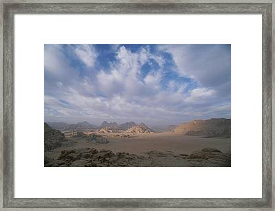 A Panoramic View Of The Wadi Rum Region Framed Print by Gordon Wiltsie