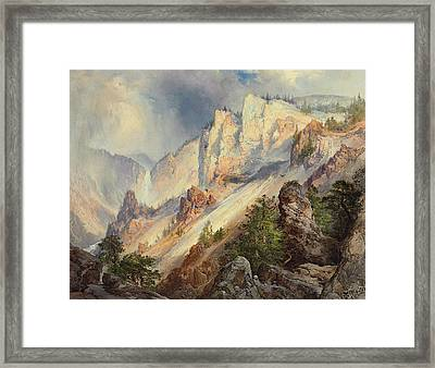 A Passing Shower In The Yellowstone Canyon Framed Print by Thomas Moran