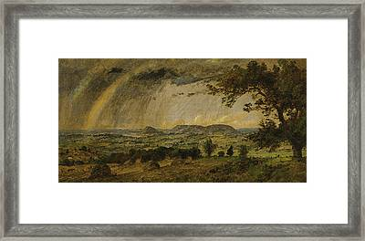 A Passing Shower Over Mts Adam And Eve Framed Print by Jasper Francis Cropsey