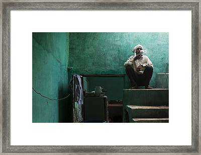 A Pause For A Worker In A Restaurant Of Orchha. Framed Print by Claude Renault
