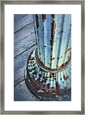 A Peeling Post In Blue Framed Print by Caitlyn  Grasso