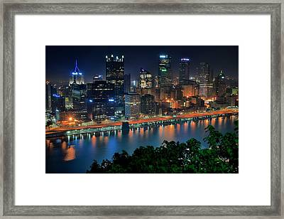A Photographic Pittsburgh Night Framed Print by Frozen in Time Fine Art Photography