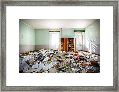 A Pile Of Knowledge - Abandoned School Framed Print by Dirk Ercken
