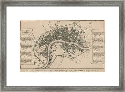 A Plan Of The City And Suburbs Of London In 1642 Framed Print by English School
