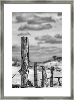 A Posting From Panama City Beach Black And White Framed Print by JC Findley