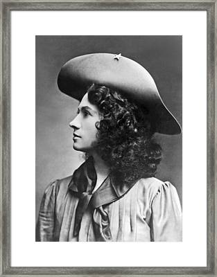 A Profile Portrait Of Sharpshooter Annie Oakley Framed Print by American School