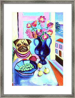 A Pug's Dinner At Henri's - Pug Framed Print by Lyn Cook