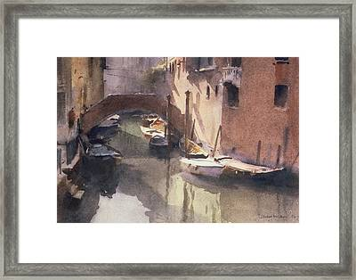 A Quiet Canal In Venice Framed Print by Trevor Chamberlain
