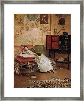 A Quiet Read In A Chinoiserie Interior Framed Print by Georges Croegaert