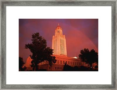 A Rainbow Shines Over The Nebraska Framed Print by Joel Sartore