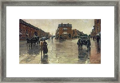 A Rainy Day In Boston Framed Print by Childe Hassam