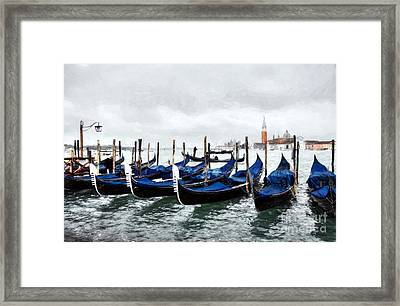 A Rainy Day In Venice Framed Print by Mel Steinhauer